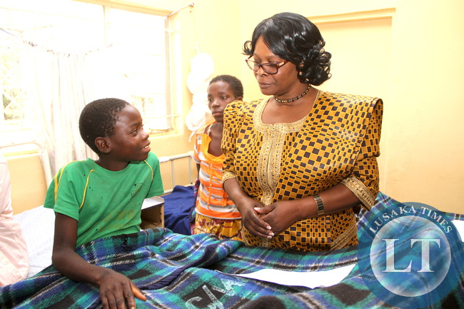 First   Lady Esther Lungu  during  her visit to Nyimba District Hospital on May 19,2015. The First Lady is in Eastern Province for the outreach Programme for People with Special needs