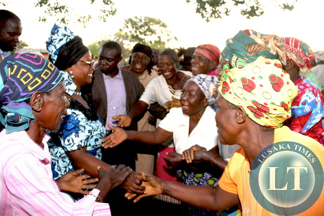 Senior Citizens after at the meting addressed by First Lady Esther Lungu at Chiwuyu primary school in Sinda District on May 20,2015 -Picture by THOMAS NSAMA