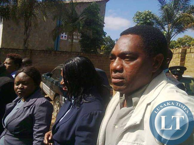 FILE: UPND president Hakainde Hichilema arrives at Kabwata Police Station for questioning