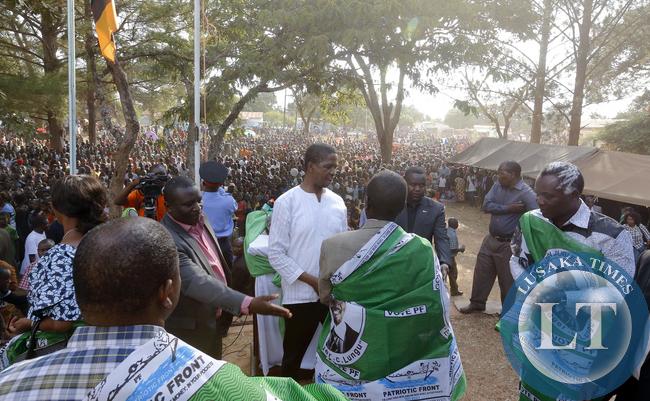 President Edgar Lungu at Mwinilunga Pf rally with Richard Kapita