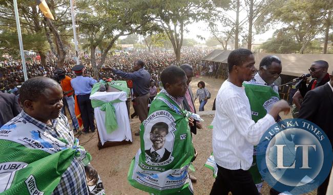 President Edgar Lungu at Mwinilunga Rally with Richard Kapita