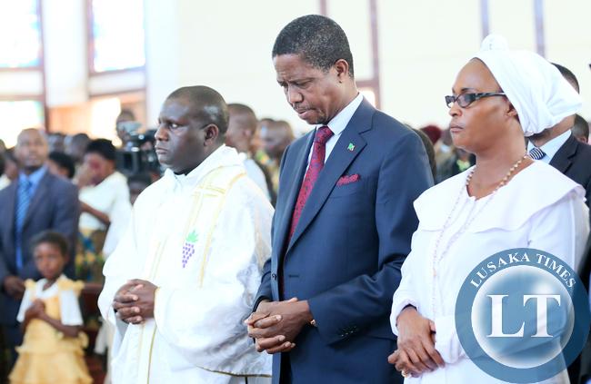 President Edgar Lungu during the Church Service at St Daniels in Solwezi