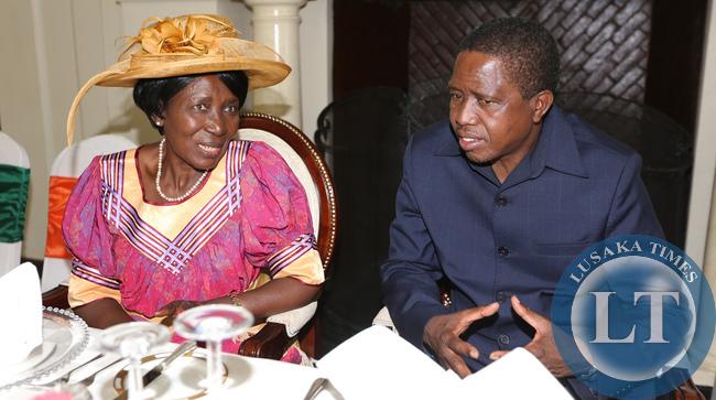 President Edgar Lungu with Vice Presisident Inonge Wina