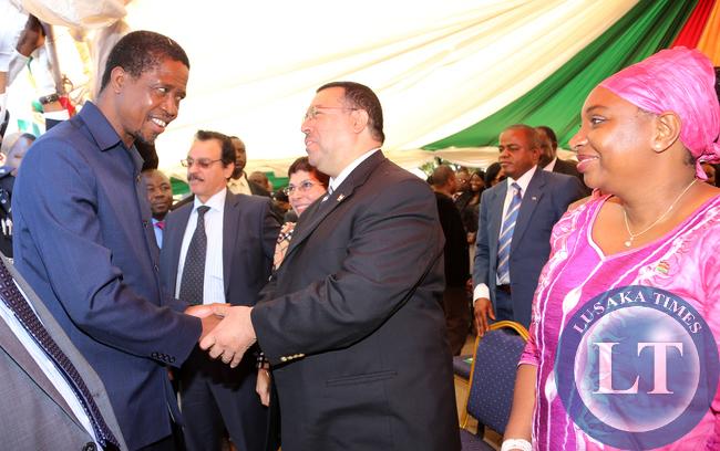 President Lungu greets Ambassador Ragai Nasr  of Egypt , Looking is Ambassador Sophy Kombe of Kenya at labour day in Lusaka