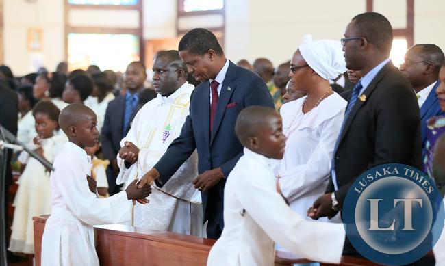 President Lungu in Chirch at St Daniels in Solwezi