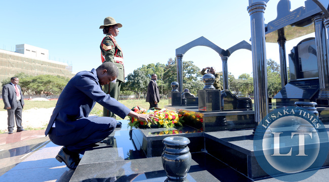 President Lungu lay Wreaths on President Sata Grave during the African Freedom day