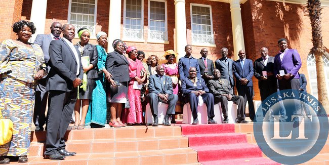 President Lungu with Families of first Cabinet
