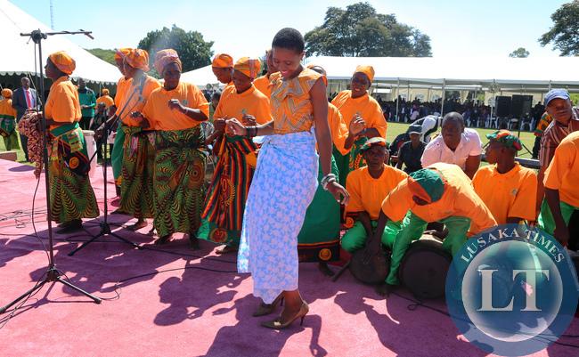 Tasila Lungu President Lungu Daughter join in the Nsenga Dance