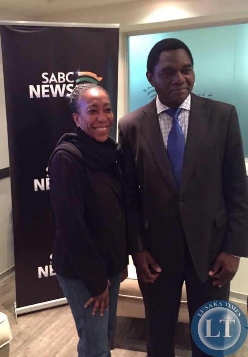 UPND president Hakainde Hichilema and UPND founder Anderson Mazoka's daughter Machenje at the SABC studios