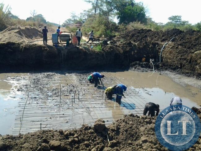 A BRIDGE under construction by Jonda along Masumba-Msoro road.This was during a tour of Malambo Member of Parliament Jacob Shuma on monday  in Mambwe District