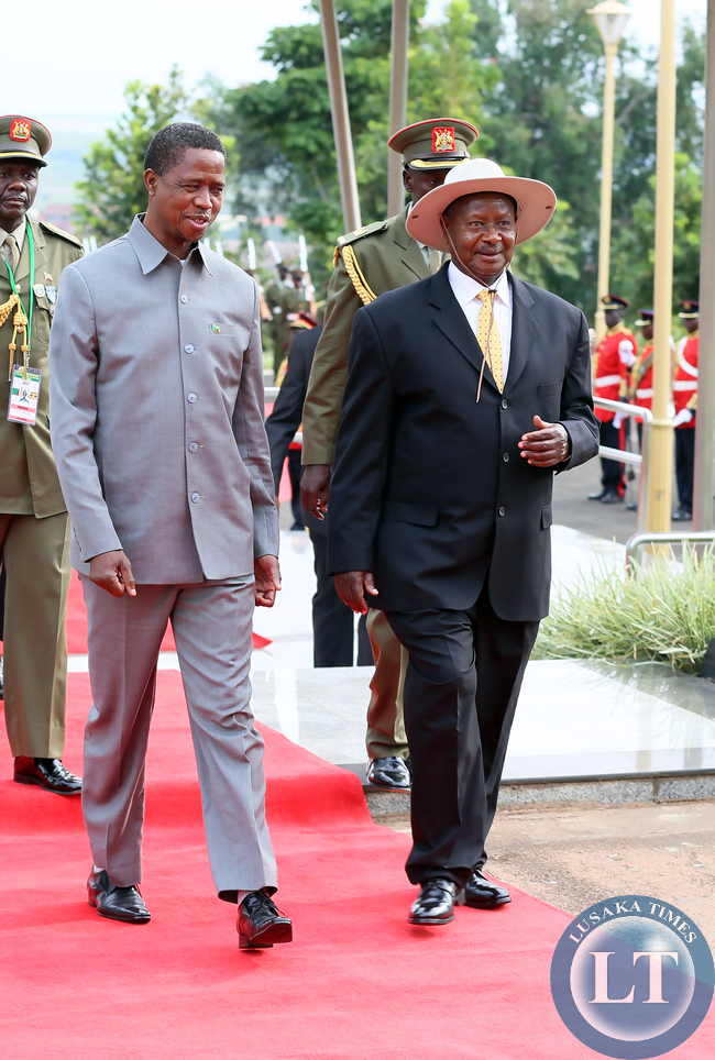 President Lungu with Museveni at Entebbe Statehouse