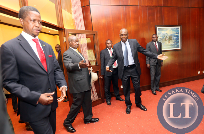 President Edgar Lungu with  President Yoweri Museveni arrive  at the Bilateral Talks with President Yoweri Museveni Degation at Serina Hotel in Kampala on Friday - Picture  by Eddie Mwanaleza /statehouse.