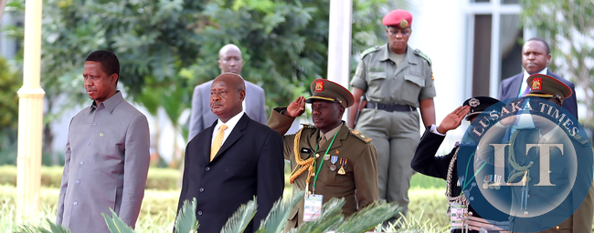 President Lungu with President Museveni at Entebbe Statehouse