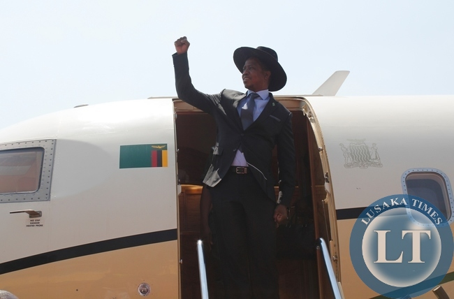 Republican President Edgar Lungu alights from the presidential jet at Samora Machel Airbase in Mbala when he made a stop over from Uganda on his way to Mwansabombwe