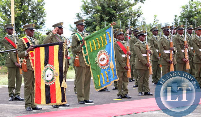 Ugandan Defence Forces Guard of honour at Entebbe Statehouse