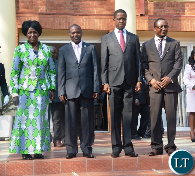 President Edgar Lungu and Vice President Inonge Wina, newly appointed Defence Minister Richwell Siamunene (r) Deputy Minister of Works,Supply and Transport James Kapyanga at State House