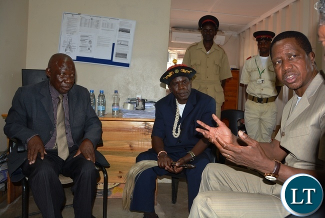 President Edgar Lungu speaking to Chief Simamba (c) and Chief Sinadambwe of Siavonga District Shortly  before Commissioning of Yalelo Zambian Fish in Siavonga