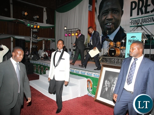 President Edgar Lungu living the stage after delivering his speech during the meet the President Fundriasing dinner at Mulungushi Conference