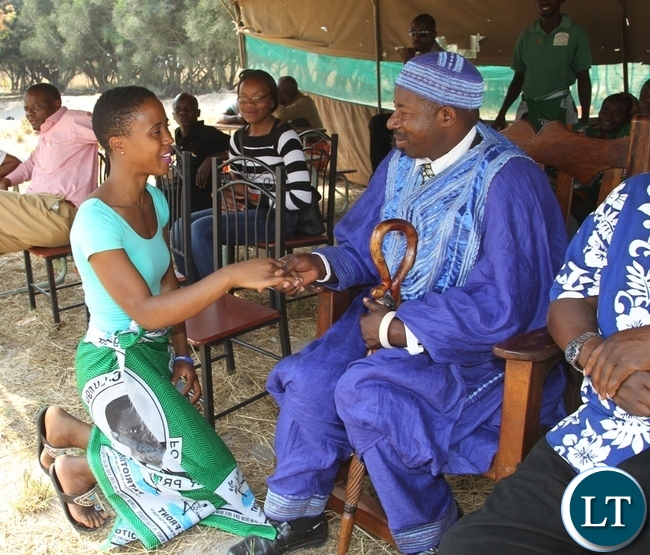 President Lungu's daughter, Tasila is welcomed by Chief Nkole Mfumu at his Palace in Kasama when she paid a courtesy call on him.