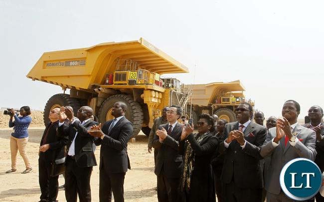 President Edgar Chagwa Lungu (right) and his Namibian Counterpart Dr. Hage Geingob (second from right) tours Husab Uranium Mine in Arandis, Namibia on Thursday, August 27,2015. PICTURE BY SALIM HENRY/STATE HOUSE ©2015