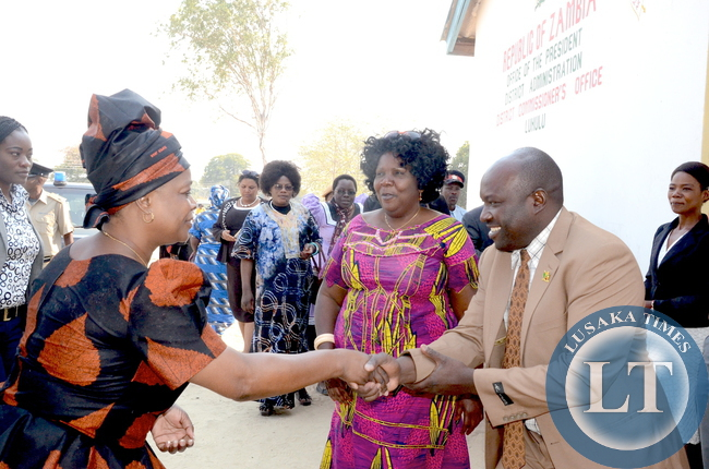 First Lady Esther Lungu being welcomed by Mitete District Commissioner Mangola on arrival in Lukulu District for the outreach programme for People with Special needs on Friday, August 14,2015 -Picture by THOMAS NSAMA