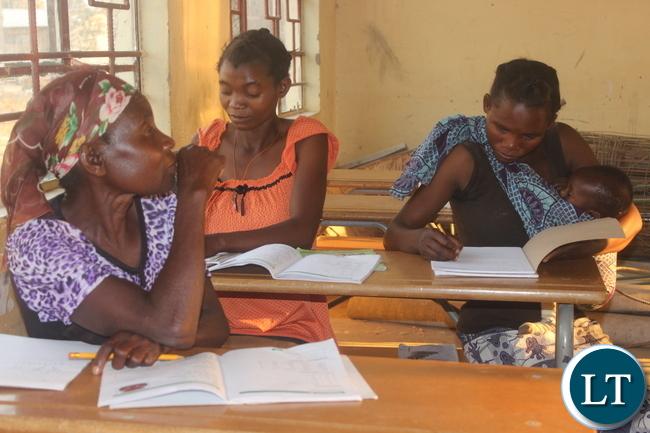 Adult pupils at Milulu Primary School.