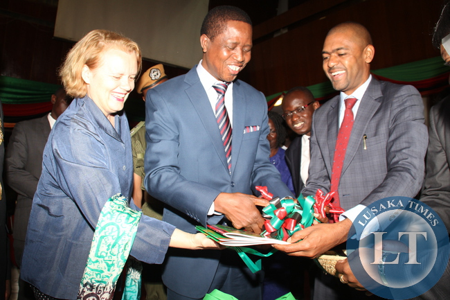 President Lungu,Zambia based UN Resident Coordinator  Ms Janet Rogan , and Minister  of Youth and Sport  Vincent Mwale during the Launch of the 2015 Youth policy and Action plan