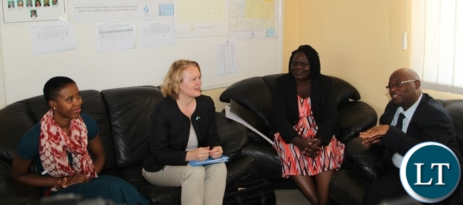 Northen Province Permanent Secretary Hlobotha Nkunika(right) welcomes President Lungu's daughter, Tasila, (left) United Nations Resident Coordinator Janet Rogan (second left) and Ministry of Youth and Sport Agnes Musunga at his office when the entourage called on him. The delegation is in Northen province to tour UNICEF and govt youth sponsored programmes.