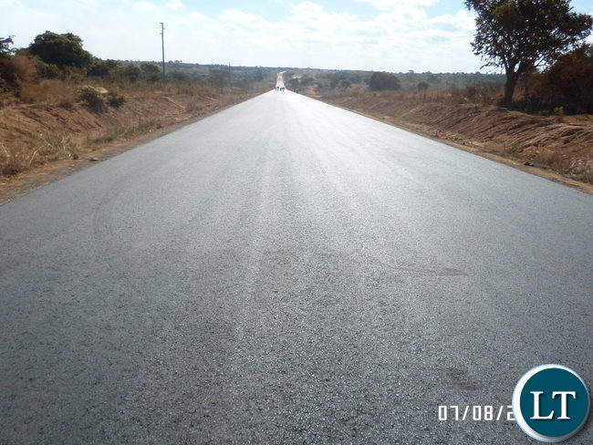 Portion of a completed part of the 171 Km 180 million United Sates Dollars Nakonde / Mbala Road project in Muchinga Province
