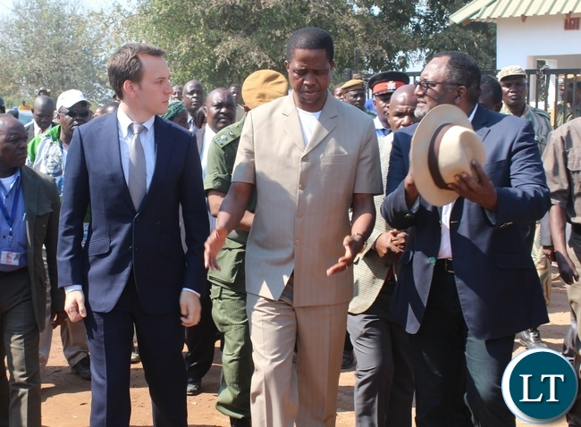 PRESIDENT Edgar Lungu (c), Yalelo Fresh Zambian Fish Board Chairman Adam Taylor (l) and Director Fisho Mwale during the official opening of Yalelo Fresh Zambian Fish Company at Kamimbi village in Siavonga onThursday.