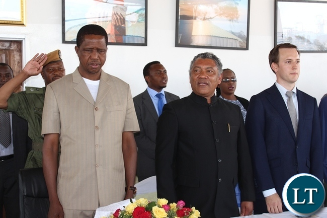 PRESIDENT Edgar Lungu (l), Agriculture Minister Given Lubinda (c) and Yalelo Fresh Zambian Fish Board Chairman Adam Taylor during the official opening of Yalelo Fresh Zambian Fish company at Kamimbi village in Siavonga
