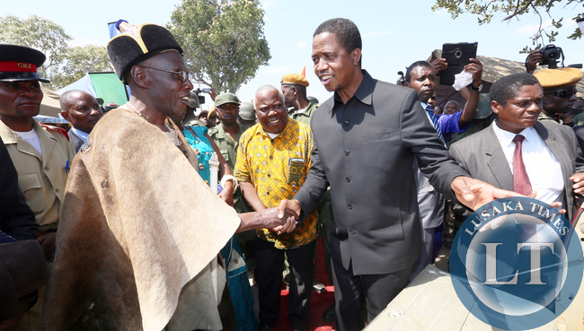President Lungu being welcomed by newly crowned Paramount Chief Chitimukulu at Mwende Ngombe, Mungwi District