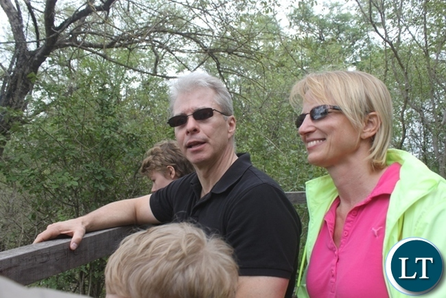 US  Ambassador to Zambia Erick Schultz (left) and his wife (right) at Victoria Falls in Livingstone