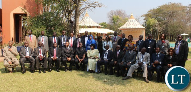 VICE President Inonge Wina (c) poses for a photograph with delegates of International Conference on the Great Lakes Region (ICGLR) meeting of Ministers of Justice on domestication of ICGLR of protocols at Zambezi Sun Hotel in Livingstone