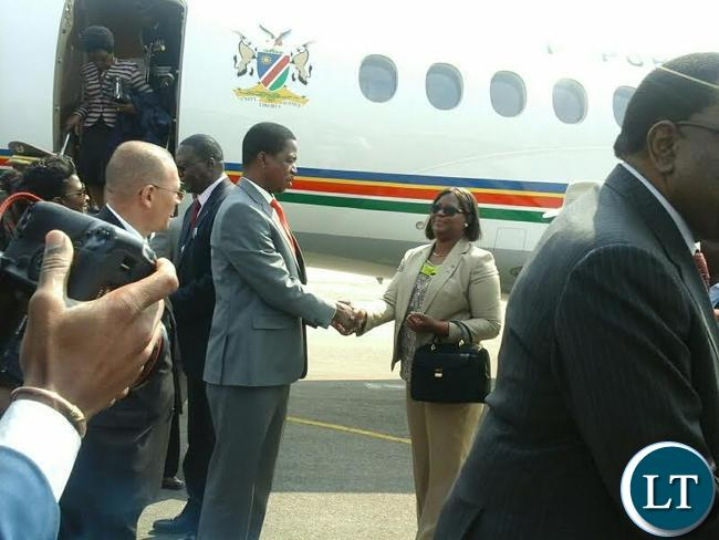 President Edgar Lungu been welcomed by zambia's High Commissioner to Namibia Sylvia Chalikosa in Walvis bay in Erongo Region, Namibia.