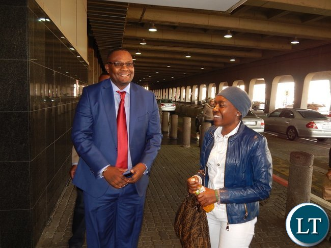 Zambia's High Commissioner Designate to South Africa, His Excellency Mr. Emmanuel Mwamba meets former Zambian First Lady Mrs. Thandiwe Banda when the latter arrived at Oliver Tambo International Airport