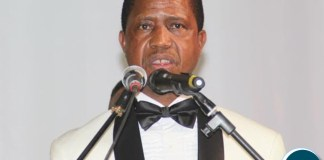 President Edgar Lungu delivering his speech during the ''Meet the President Fundraising Dinner'' at Mulungushi International Conference Centre,