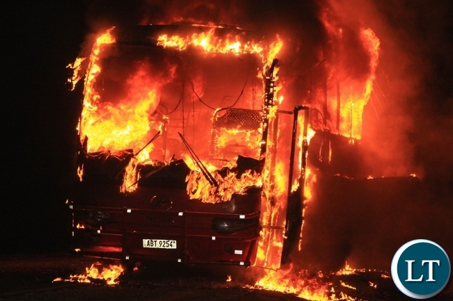 Higer Red Bomber Bus, ABT 9254 caught fire last night around 19:00hrs due to electrical fault as it was travelling from Mongu to Lusaka between Mongu and Kaoma Road. About 30 passengers all on board survived unhurt.