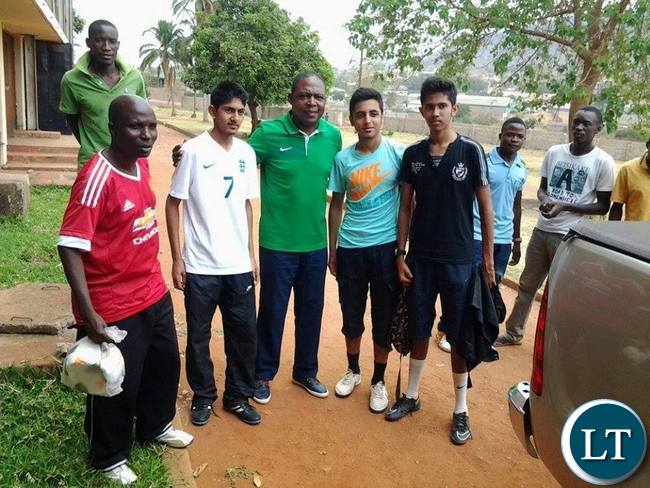 FAZ president Kalusha Bwalya with players at David Kaunda Stadium in Chipata during Airtell Rising Stars Identification programme