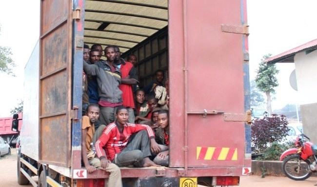 The 100 Ethiopians Prohibited Immigrants intercepted by Police on Monday at Kanona security points in Serenje district. 53 of the Ethiopians are juveniles.