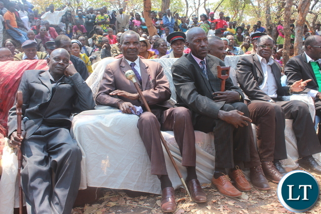Chief Mukubwe of the Lenje speaking people of Ngabwe District (second from left) with his Headmen following proceedings of the installation of Chief Ngabwe VI at Wikishi in Ngabwe District.