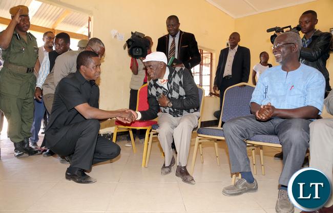 President Lungu Greets Chief Mukuni next to him is Chief chipepo