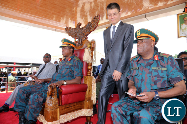 President Lungu with Chinese Ambassador and ZNS Commander Gen Mulenga