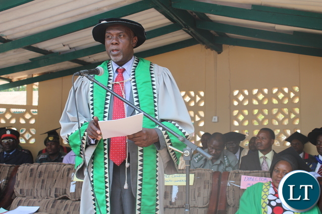 University of Zambia (UNZA) Acting Deputy Chancellor Dr Micky Mwala speaking to graduands(not in picture) today during the graduation ceremony at Zambia College of Agriculture(ZCA) at which 133 students graduated with certificates in general agriculture while 99 graduated with Diploma