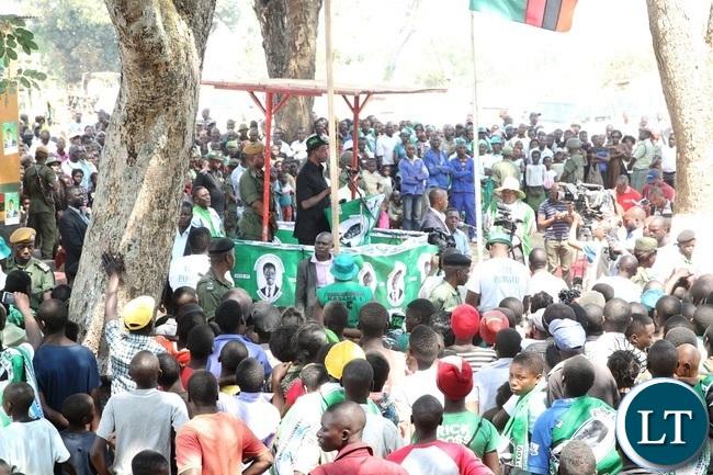 PRESIDENT Edgar Lungu addressing the solwezi residents