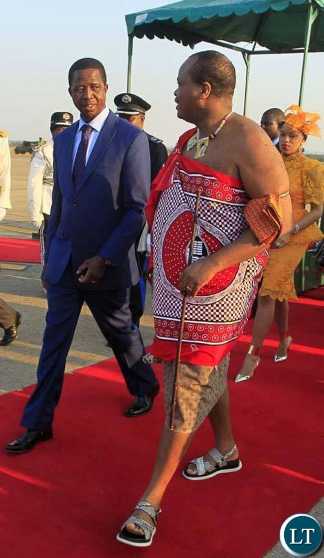 President Edgar Chagwa Lungu (left) welcomes King Mswati of Swaziland at Kenneth Kaunda International Airport on Friday, October 23,2015. PICTURE BY SALIM HENRY/STATE HOUSE ©2015