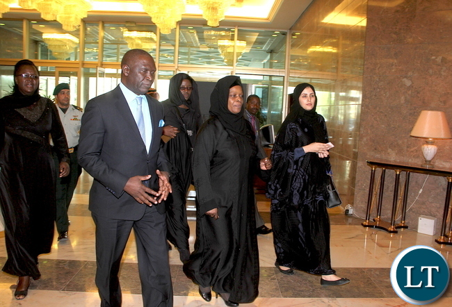 Lady Esther Lungu with Ministry of Health General Supervisor of International Relations Hessa AL Motairi (r) and Zambia's Ambassador to Saudi Arabia Ibrahim Mumba ( Second from left) on arrival at Riyadh Conference Palace on Sunday, October 11,2015. The First Lady is in Saudi Arabia at the Invitation of the Ministry of the Health of the Kingdom of Saudi Arabia and Her Royal Highness Princess Latifa Bint Abulaziz Al-Saud the Spouse of His Excellency the President of the Kingdom of Saudi Arabia -Picture by THOMAS NSAMA/STATE HOUSE