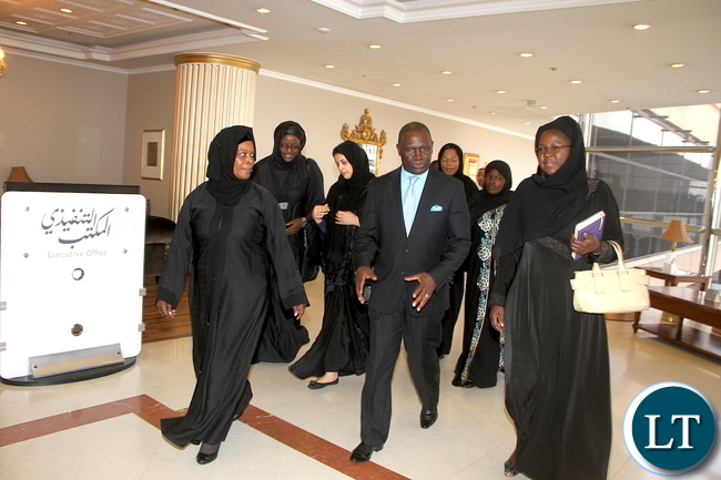 First Lady Esther Lungu (L) with Zambia's Ambassador to Saudi Arabia Ibrahim Mumba (C) and State House Senior Private Secretary Florence Chawelwa (R) on arrival at Riyadh King Khalid International Airport on Sunday, October 11,2015. The First Lady is in Saudi Arabia at the Invitation of the Ministry of the Health of the Kingdom of Saudi Arabia and Her Royal Highness Princess Latifa Bint Abulaziz Al-Saud the Spouse of His Excellency the President of the Kingdom of Saudi Arabia -PICTURE BY THOMAS NSAMA/ STATE HOUSE