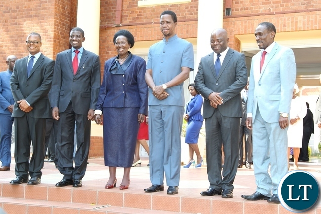 President Edgar Lungu and Vice President Inonge Wina pose for the photography with newly appointed Minister of fisheries and livestock Greyford Monde (2nl), Minister of Local Government Stephen Kapyongo (2nr), Minister of Transport Kapembwa Simbao (l) and Deputy Minister in the office of the Vice President Lawrence Sichalwe (r)shortly after swearing Ceremony at State House yesterday 08-10-2015. Picture by ROYD SIBAJENE/ZANIS