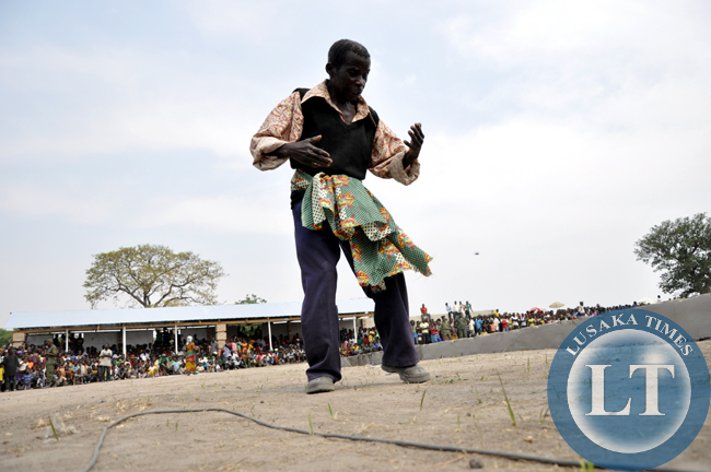 An elder from Chief Chungu dances to traditional beats during the Mukulapembe Traditional Ceremony in Luwingu recently